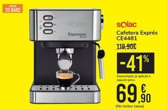 Oferta de Cafetera Espresso CE4481 SOLAC por 69,9€