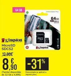 Oferta de MicroSD SDCS2 Kingston por 8,9€