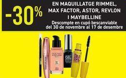 Oferta de En maquillaje Rimme, Max Factor, Astor, Revlon y Maybeline  por