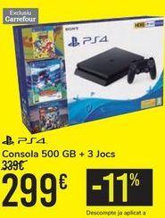 Oferta de Consola 500 GB + 3 JUEGOS PS4  por 299€
