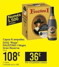 Oferta de Caja 6 botellas D.O.Ca Rioja FAUSTINO I Tinto Gran Reserva  por 108€