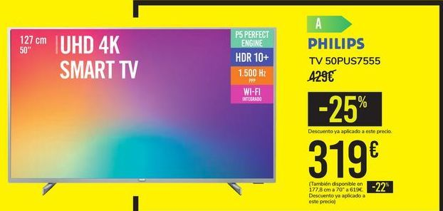 Oferta de TV 50PUS7555 PHILIPS por 319€
