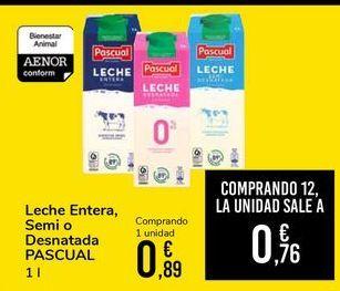Oferta de Leche entera semi o desnatada Pascual  por 0,89€