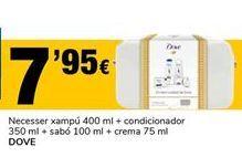 Oferta de Neceser champú 400ml + acondicionador 350ml + jabón 100ml + crema 75ml Dove por 7,95€