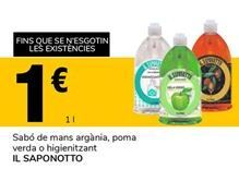 Oferta de Jabón de manos argán, manzana verde o higienizante IL SAPONOTTO por 1€