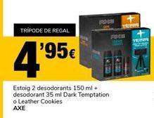 Oferta de Estuche 2 desodorantes 150ml + desodorante 35ml Dark Temptation o Leather Cookies Axe por 4,95€