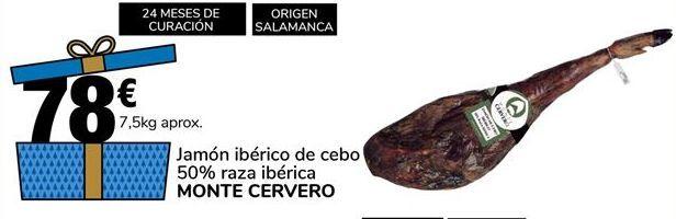 Oferta de Jamón ibérico de cebo 50% raza ibérica Monte Cervero por 78€