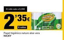 Oferta de Papel higiénico nature aloe vera Nicky por 2,35€