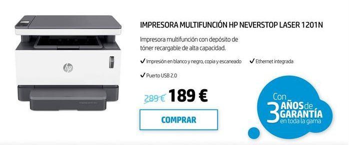 Oferta de Impresora láser HP por 189€
