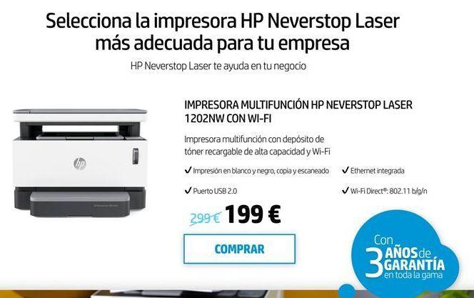 Oferta de Impresora laser HP por 199€