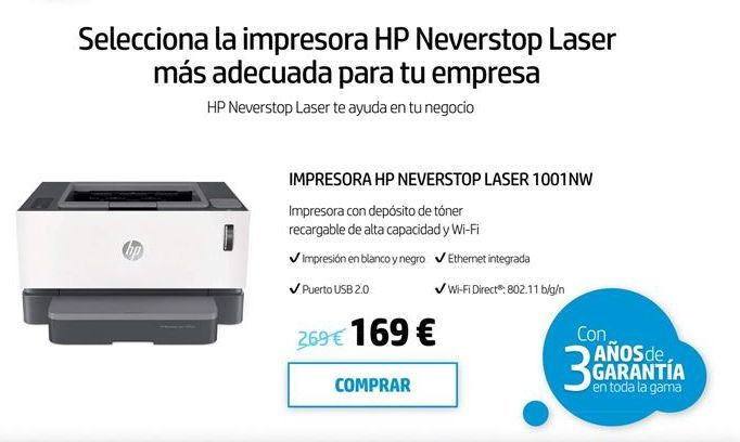 Oferta de Impresora láser HP por 169€