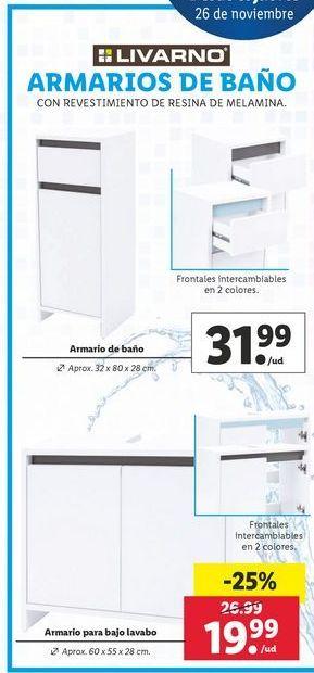 Oferta de Armario de baño Livarno por 31,99€
