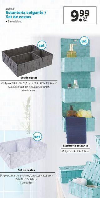 Oferta de Estantería colgante/ set de cestas Livarno por 9,99€