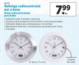 Oferta de Reloj radiocontrolado para baño Auriol por 7,99€