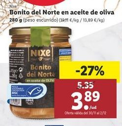 Oferta de Bonito del norte en aceite de oliva nixe por 3,89€