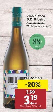 Oferta de Vino blanco Coto de Ibedo por 3,19€