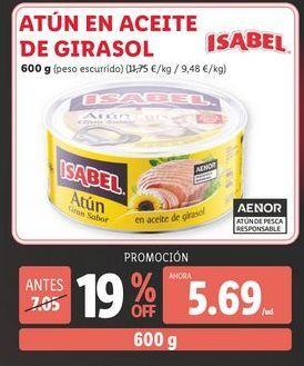 Oferta de Atún en aceite de girasol Isabel por 5,69€