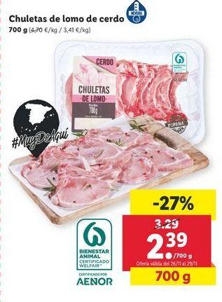 Oferta de Chuletas de lomo de cerdo por 2,39€