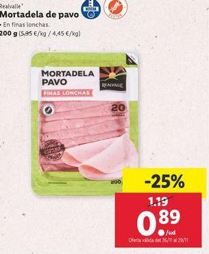 Oferta de Mortadela de pavo Realvalle por 0,89€
