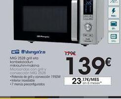 Oferta de Microondas con grill y convección MIG 2528 Orbegozo por 139€
