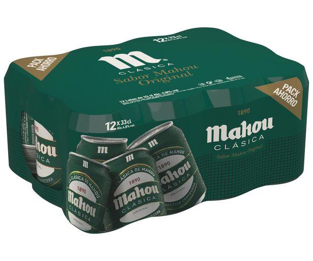 Oferta de Cervezas  Clásicas  MAHOU pack de 12 latas de 33 centilitros por 4,8€