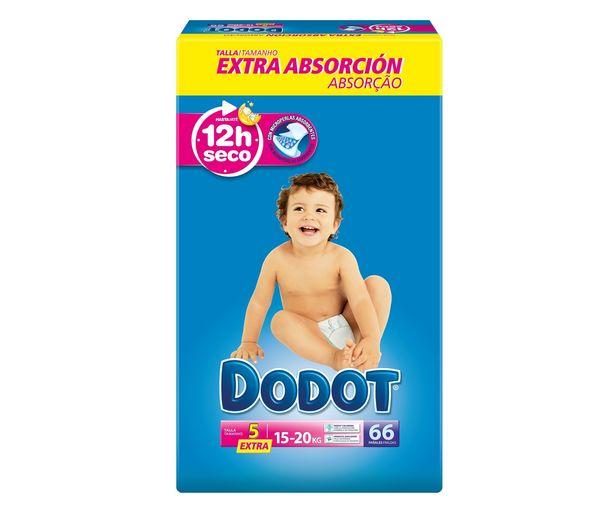 Oferta de Pañales talla 5, para niños de 15 a 20 kilogramos DODOT 66 uds. por 19,75€