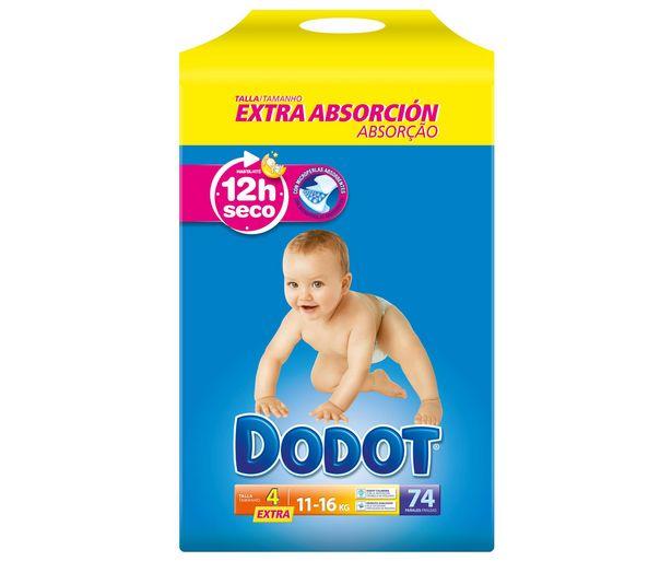Oferta de Pañales talla 4, para niños de 11 a 16 kilogramos DODOT Extra 74 uds. por 19,94€