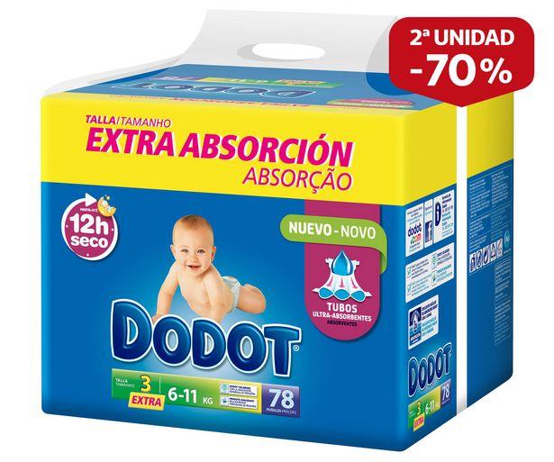 Oferta de Pañales talla 3, para niños de 6 a 11 kilogramos DODOT 78 uds. por 19,75€