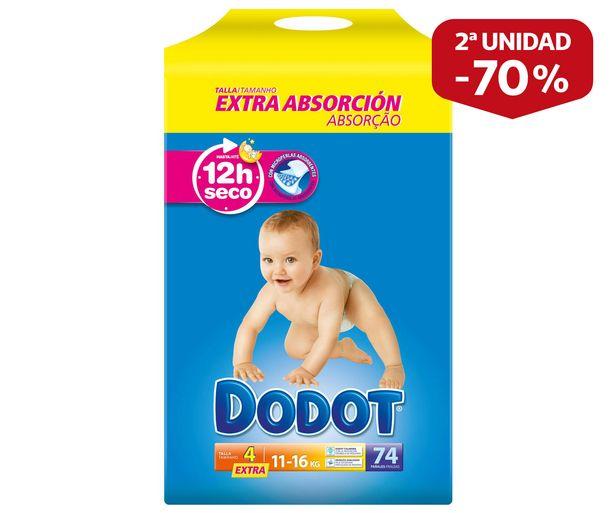 Oferta de Pañales talla 4, para niños de 11 a 16 kilogramos DODOT Extra 74 uds. por 19,75€