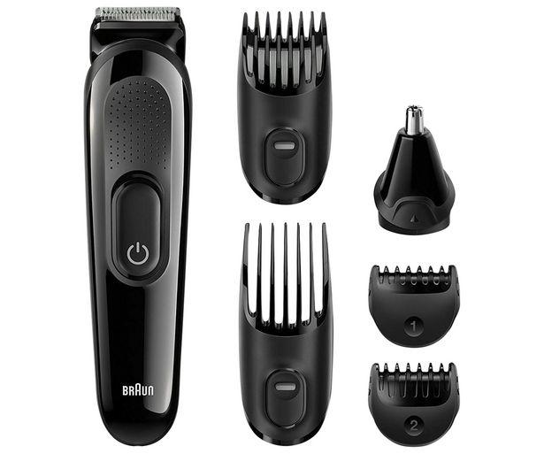 Oferta de Set de arreglo personal 6 en 1 BRAUN MGK3220, cara, barba y cabello, sin cable, 5 accesorios, 13 longitudes, autonomía 50min. por 34,9€