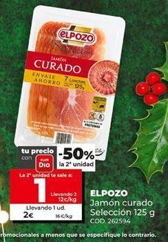 Oferta de Jamón curado elpozo por 1€