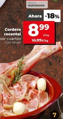 Oferta de Cordero recental por 8,99€