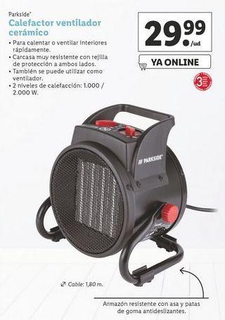 Oferta de Calefactor ventilador cerámico Parkside por 29,99€