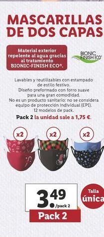 Oferta de Mascarilla de dos capas  por 3,49€