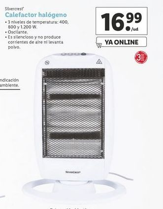 Oferta de Calefactor halógeno SilverCrest por 16,99€