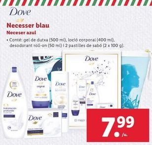 Oferta de Neceser azul Dove por 7,99€