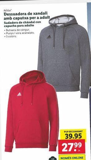 Oferta de Sudadera de chándal con capucha para adultos Adidas por 27,99€