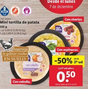 Oferta de Mini tortilla de patatas chef select por 0,99€