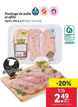 Oferta de Pechuga de pollo al ajillo por 2,49€
