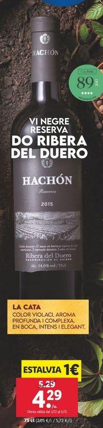 Oferta de Vino tinto reserva hachon por 4,29€
