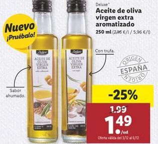 Oferta de Aceite de oliva virgen extra aromatizado Deluxe por 1,49€