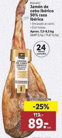 Oferta de Jamón ibérico de cebo Realvalle por 89€