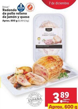 Oferta de Redondo de pollo relleno de jamón y queso  Deluxe por 3,89€