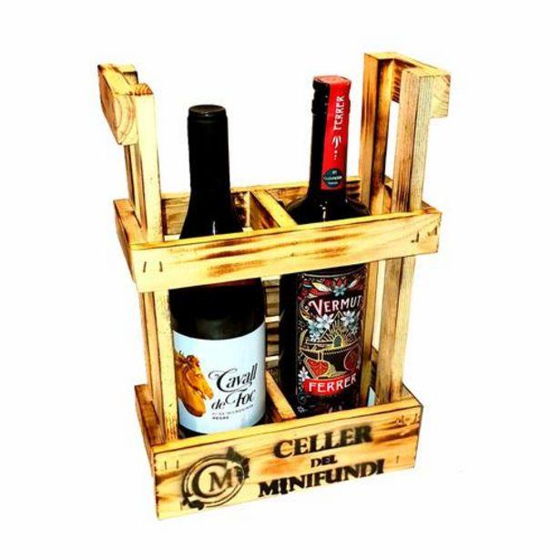 Oferta de Lote 1 Vermut Ferrer + 1 Vino Cavall de Foc con soporte de madera - 2 x 75 cl por 47,95€