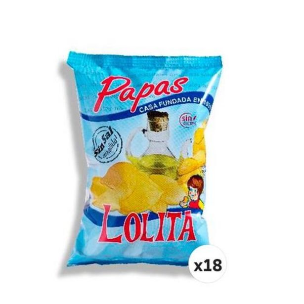 Oferta de PAPAS LOLITA SIN SAL 145 G (CAJA DE 18 UNIDADES) por 18,7€
