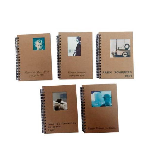 Oferta de Pack 5 libretas espiral doble portada vintage por 15€