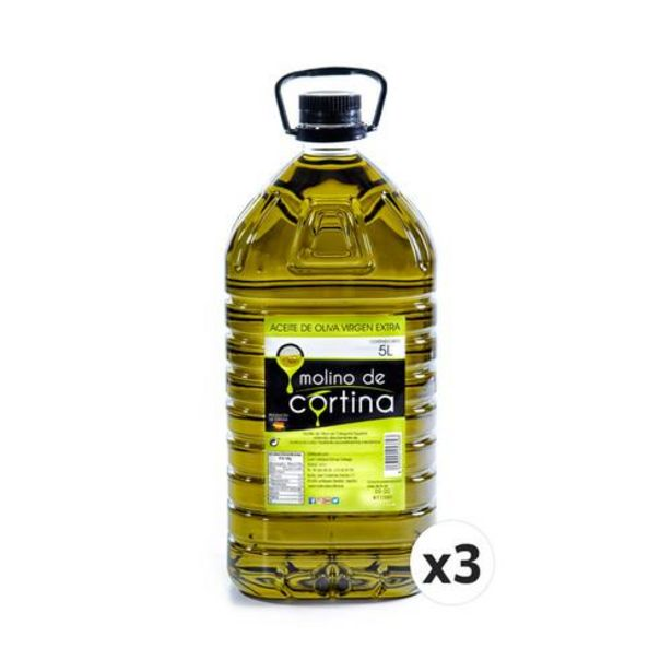 Oferta de 3X5 litros. Molino de Cortina Aceite Oliva Extra Virgen. Filtrado por 105€