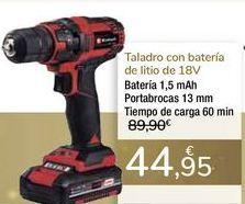 Oferta de Taladro con batería de litio 18v por 44,95€