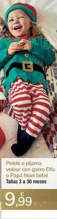 Oferta de Pelele o pijama velour con gorro Elfo o Papá Noel bebé  por 9,99€