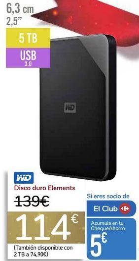 Oferta de Disco duro Elements WD por 114€